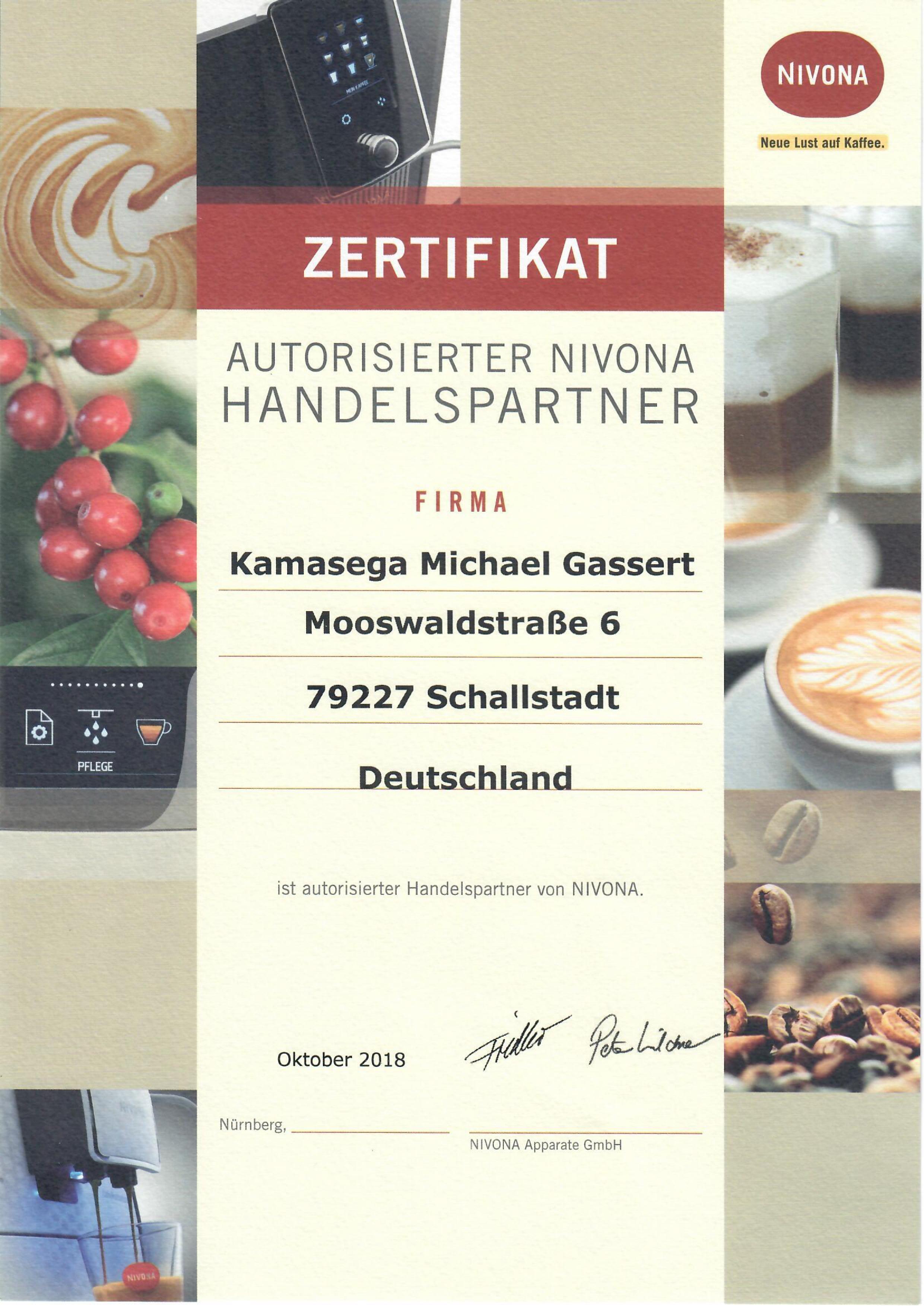 Kamasega Zertifikat Nivona | Kamasega